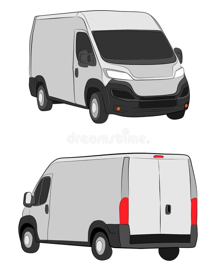 Cargo van truck. Minivan car vector drawing illustration eps.10. Cargo van truck. The minivan car vector drawing illustration eps.10 stock illustration