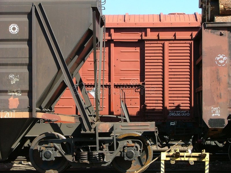 Cargo wagons. In the train station stock photos