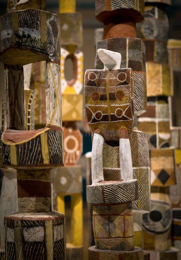 Cargos aborígenes do enterro dos tribos, museu australiano de Sydney fotografia de stock royalty free