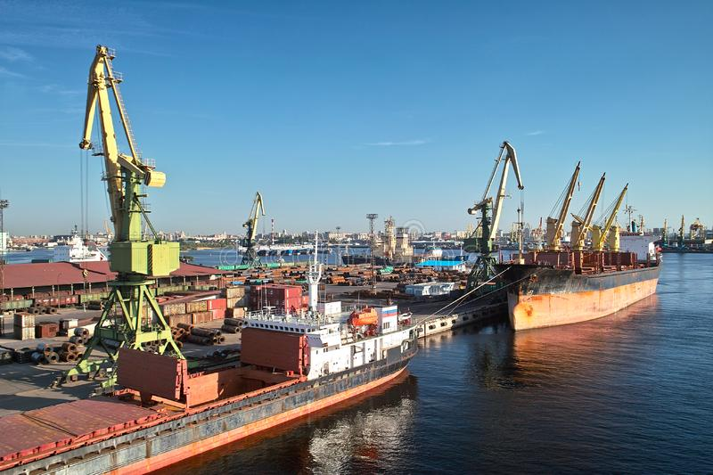 Download Cargoships in the port stock image. Image of import, logistics - 14671617