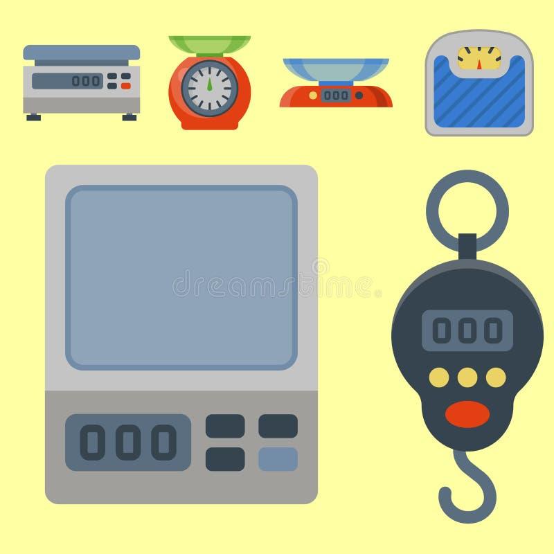 Cargue el ejemplo del vector del equipo de las herramientas de la balanza de la instrumentación de la medida stock de ilustración