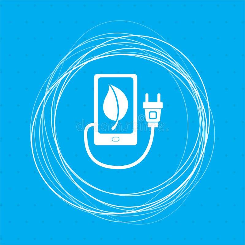 Cargue el poder del eco, el cable del usb está conectado con el icono del teléfono en un fondo azul con los círculos abstractos a ilustración del vector