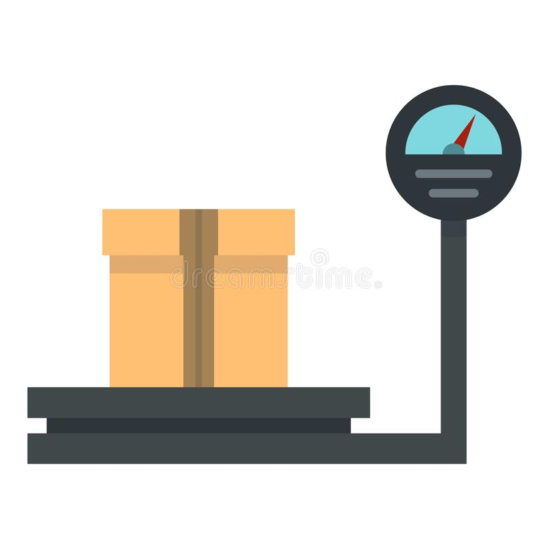 Cargue la escala con el icono de la caja, estilo plano libre illustration