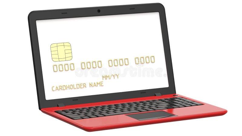 Cargue la tarjeta plástica o la tarjeta de crédito dentro de la pantalla del ordenador portátil 3D hacen de la plantilla blanca e stock de ilustración