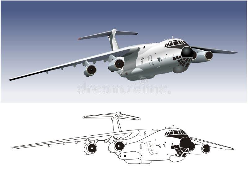 Cargueiro comercial IL-76 do vetor ilustração royalty free