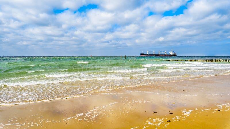 Carguero grande del océano que viene del Mar del Norte que dirige en el Westerschelde al puerto de Vlissingen foto de archivo