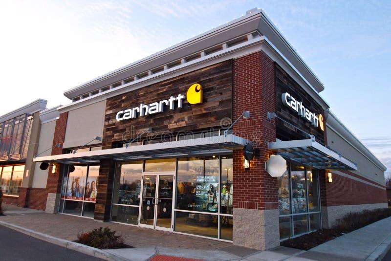 Carhartt-Bekleidungsgeschäft lizenzfreies stockbild