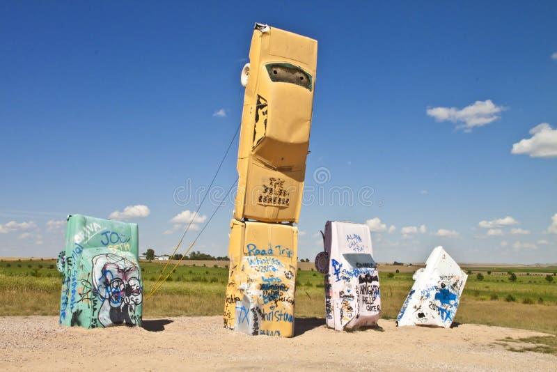 carhenge,内布拉斯加美国的Actraction 免版税库存照片