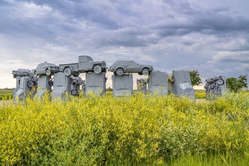 Carhenge,巨石阵一件现代复制品  免版税库存照片