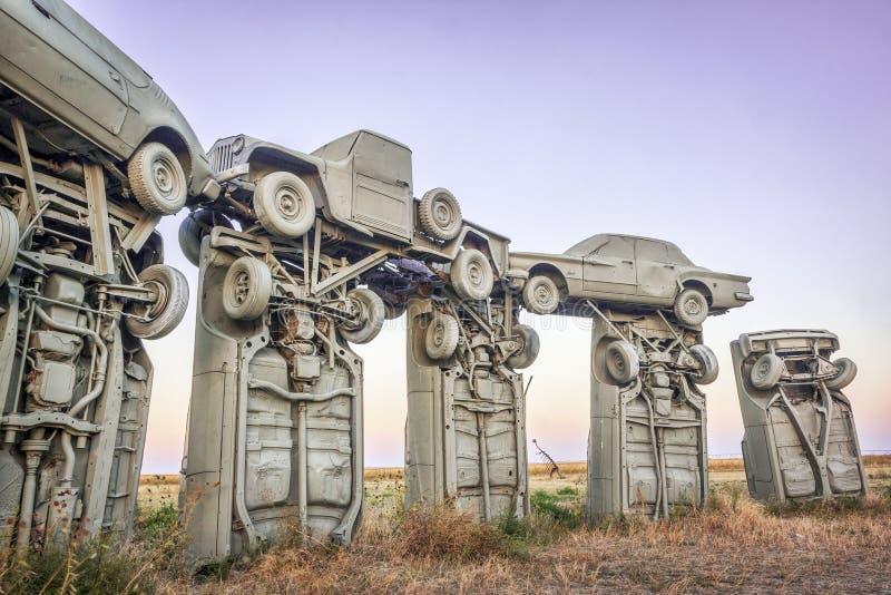 Carhenge, современная реплика Стоунхенджа стоковые фотографии rf