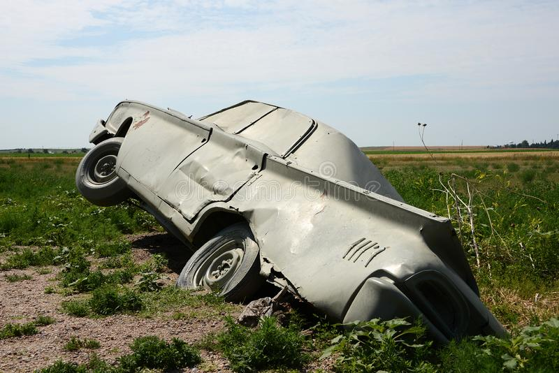 Carhenge in Alliance, Nebraska. Carhenge is a piece of land art reminding at the megaliths of stonehenge royalty free stock photography