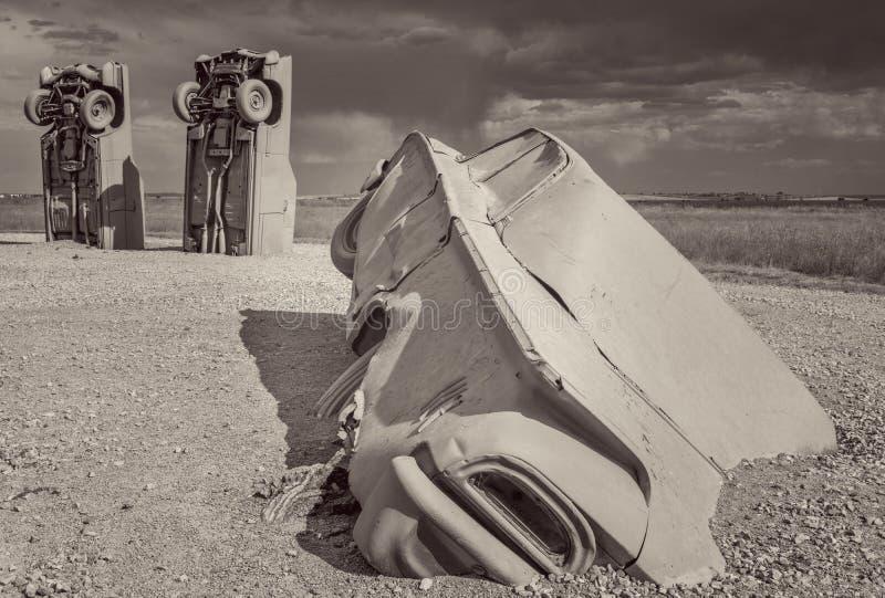 Carhenge, een moderne replica van Stonehenge royalty-vrije stock foto