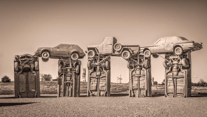 Carhenge, een moderne replica van Stonehenge royalty-vrije stock afbeeldingen