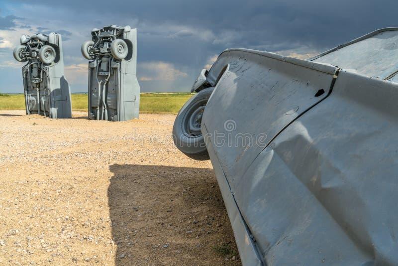 Carhenge, een moderne replica van Stonehenge stock afbeeldingen