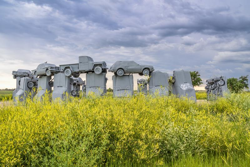 Carhenge, a modern replica of Stonehenge royalty free stock photos