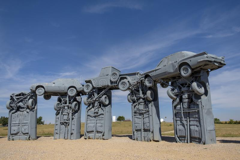 Carhenge in Alliance, Nebraska. Carhenge is a replica of the famous England`s Stonehenge. It is located near the city of Alliance in Nebraska, in the High Plains stock image