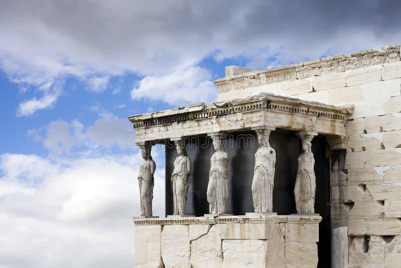 Cariátides, templo de Erechtheum, Acropolis, Atenas foto de stock