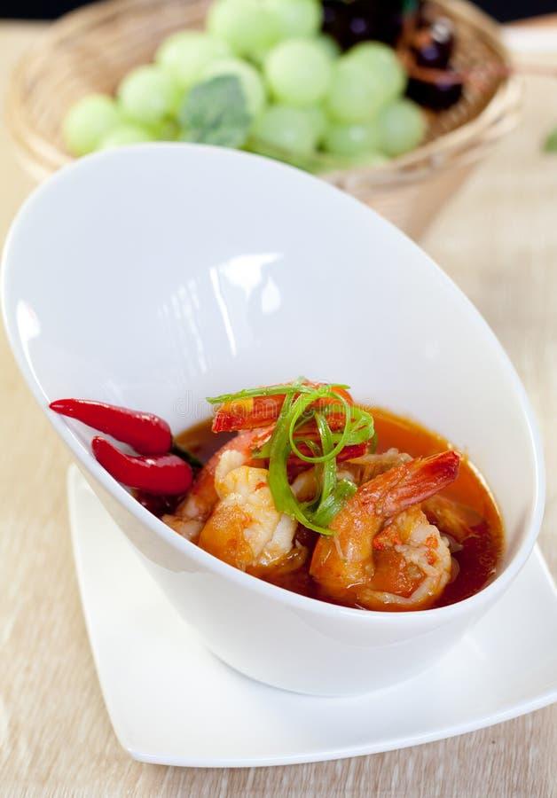 Cari asiatique de crevette rose de nourriture photos libres de droits