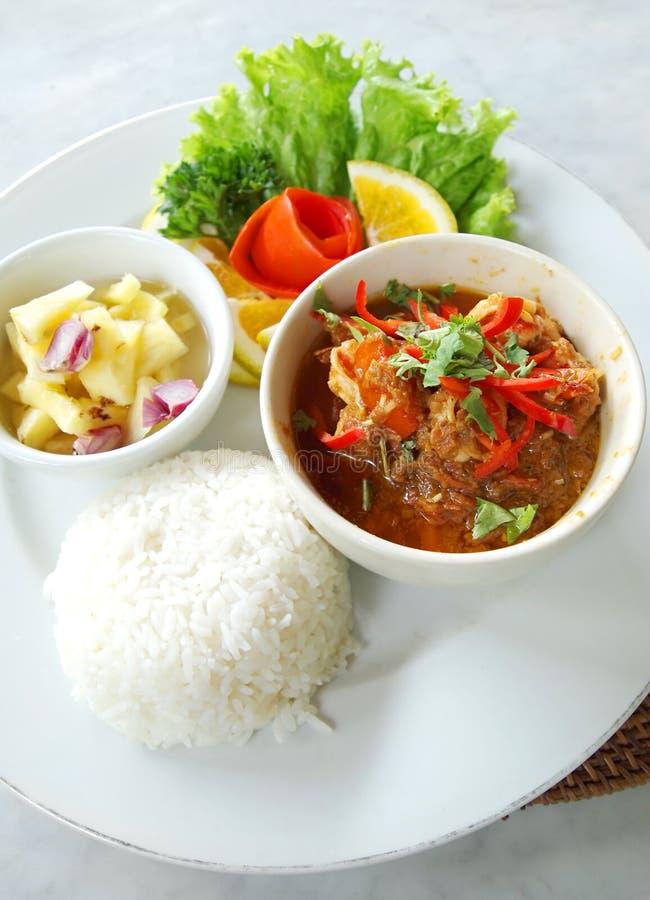 Cari de crevette rose de nourriture ethnique de Balinese images stock