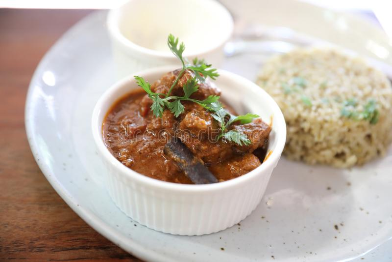 Cari de Masala, nourriture indienne avec du riz de Biryani image stock