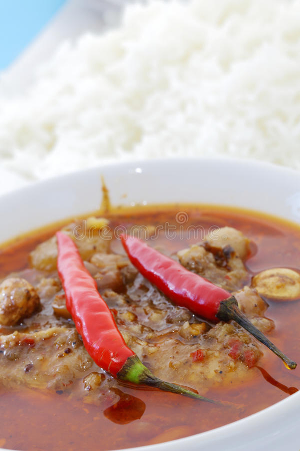 Cari de poulet avec du riz photo stock. Image du pâte ...