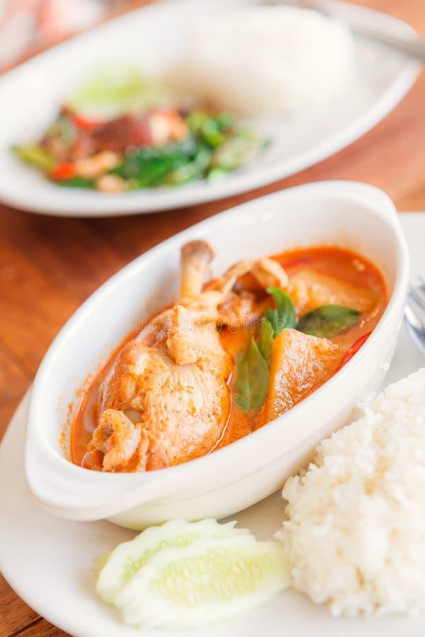 Cari de poulet dans la cuvette blanche Nourriture thaïe - friture #6 de Stir image libre de droits