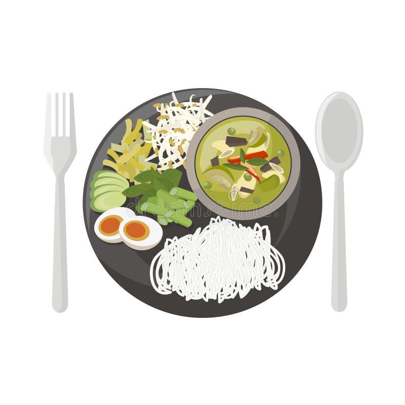 Download Cari de poulet (vert) illustration de vecteur. Illustration du déjeuner - 56488555