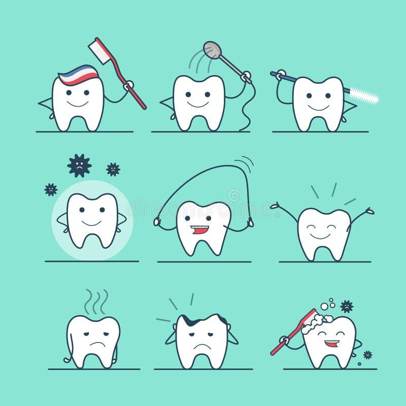 Cari flossing del diente dental plano linear de la atención sanitaria libre illustration