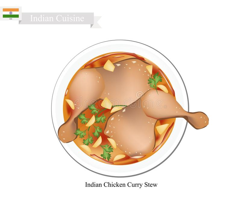 Cari indien de poulet, plat célèbre dans l'Inde illustration libre de droits