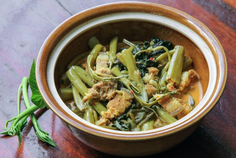 Cari rayé de porc avec des épinards de l'eau (soupe à Tae-pho), cari thaïlandais, nourriture photographie stock