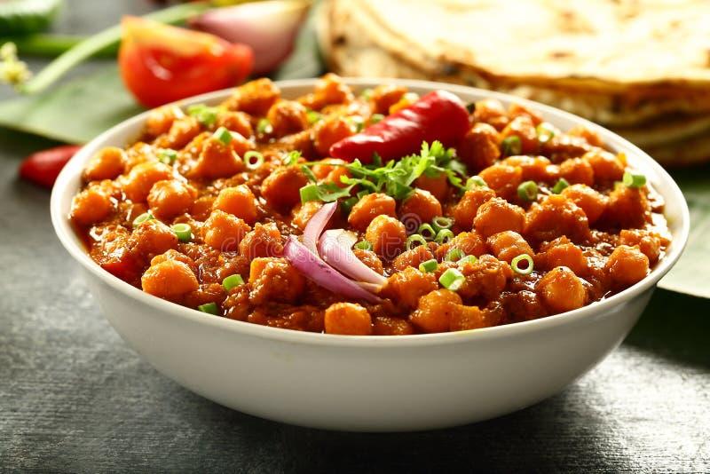 Cari sain de pois chiche de plat de vegan Channa Masala photos libres de droits