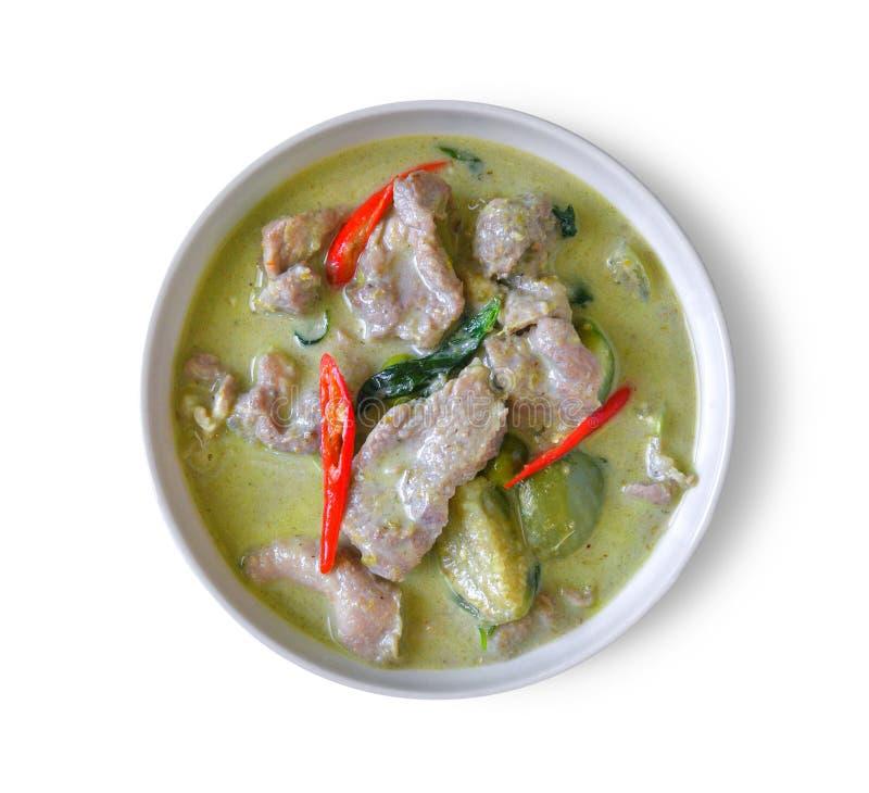 Cari vert thaïlandais traditionnel sur le fond blanc photographie stock