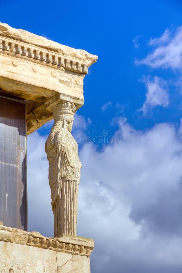 Cariatide de l'Erechtheum, Acropole, Athènes photographie stock