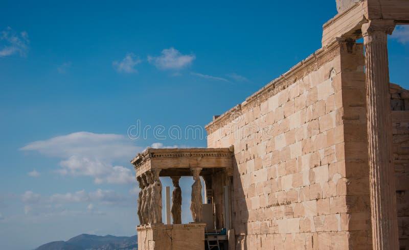 Cariatidi dell'acropoli immagini stock libere da diritti