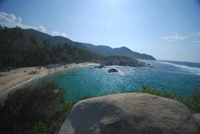 Caribbean beach. Tayrona national park in the Caribbean beach of Colombia royalty free stock photos