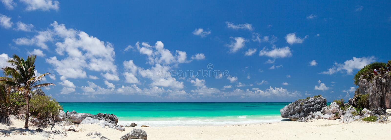 Caribbean beach. White sand Caribbean beach near Tulum ruins in Mexico royalty free stock photography