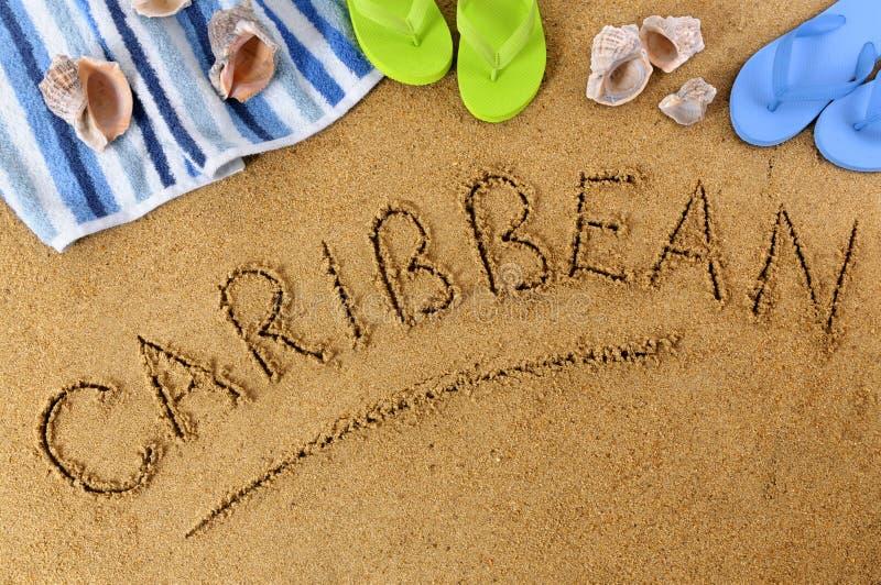 Caribbean beach summer sand word writing royalty free stock photos