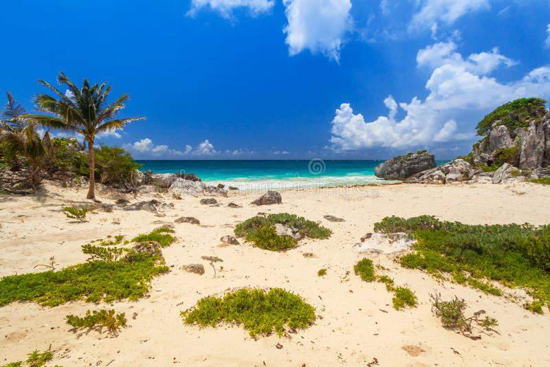 Caribbean beach at the cliff in Tulum. Mexico royalty free stock photos