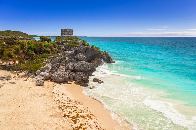 Caribbean beach at the cliff in Tulum. Mexico stock images
