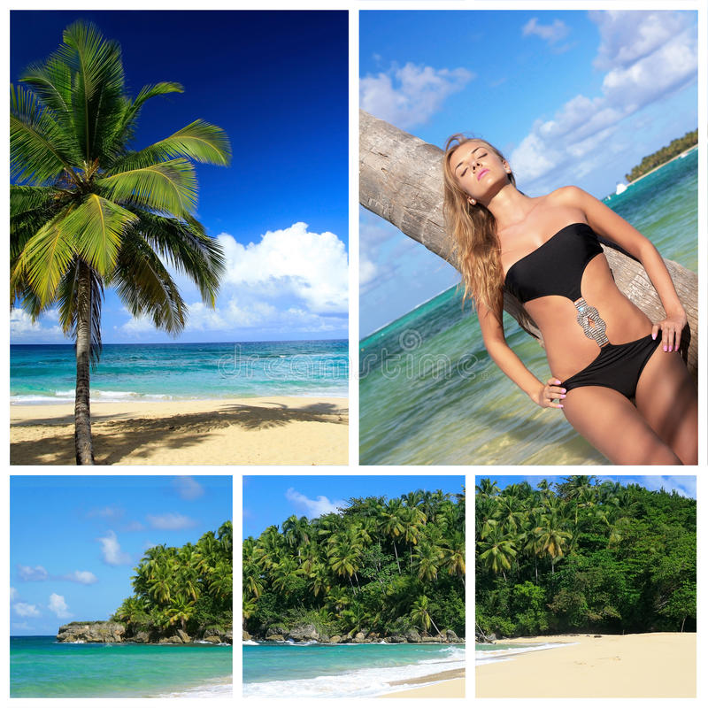 Caribbean beach collage with woman. Near palm stock image
