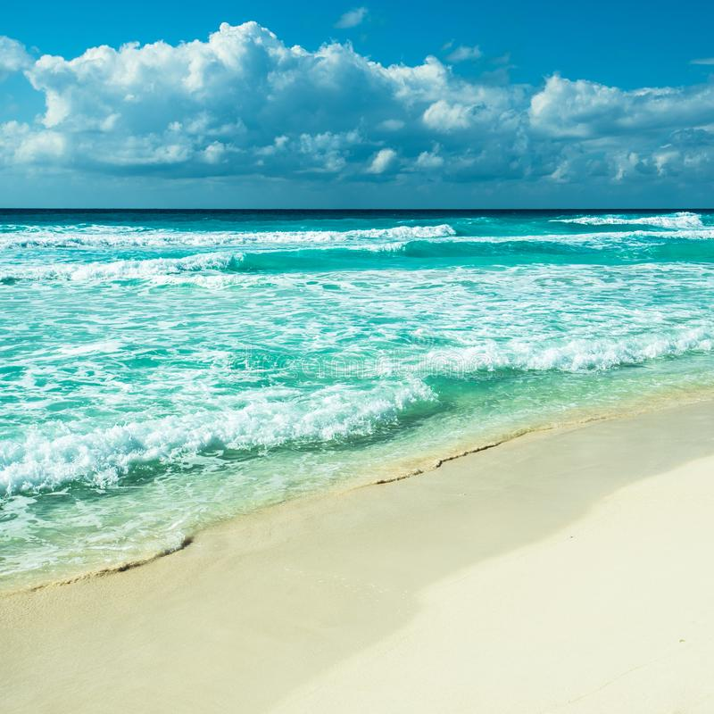 Caribbean Beach: Caribbean Beach Panorama, Tulum, Mexico Stock Photo