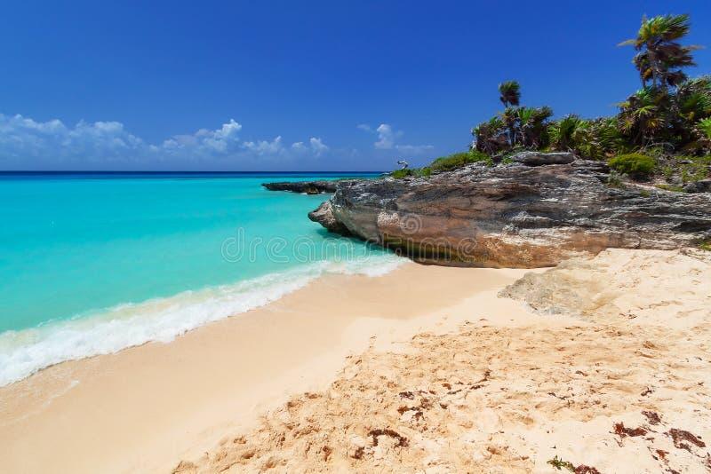 Caribbean beach in Playa del Carmen royalty free stock images