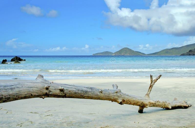 Caribbean Beach Scenery Virgin Islands. Tranquil beach scenery on a sunny day at Josiahs Beach on Tortola, British Virgin Islands royalty free stock image