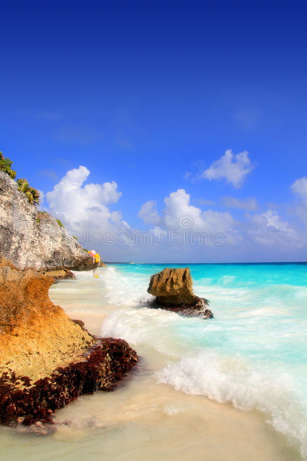 Caribbean beach in Tulum Mexico under Mayan ruins stock images
