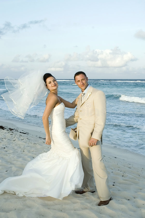 Caribbean Beach Wedding - Bride and Groom royalty free stock images