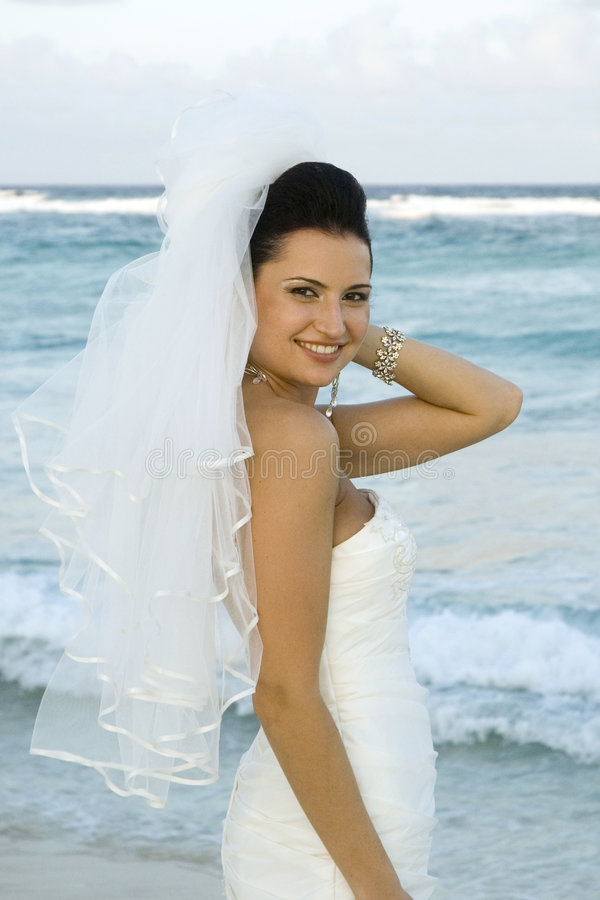 Caribbean Beach Wedding - Bride Posing stock photo