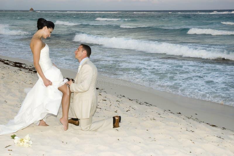 Caribbean Beach Wedding - Garter Belt royalty free stock photography