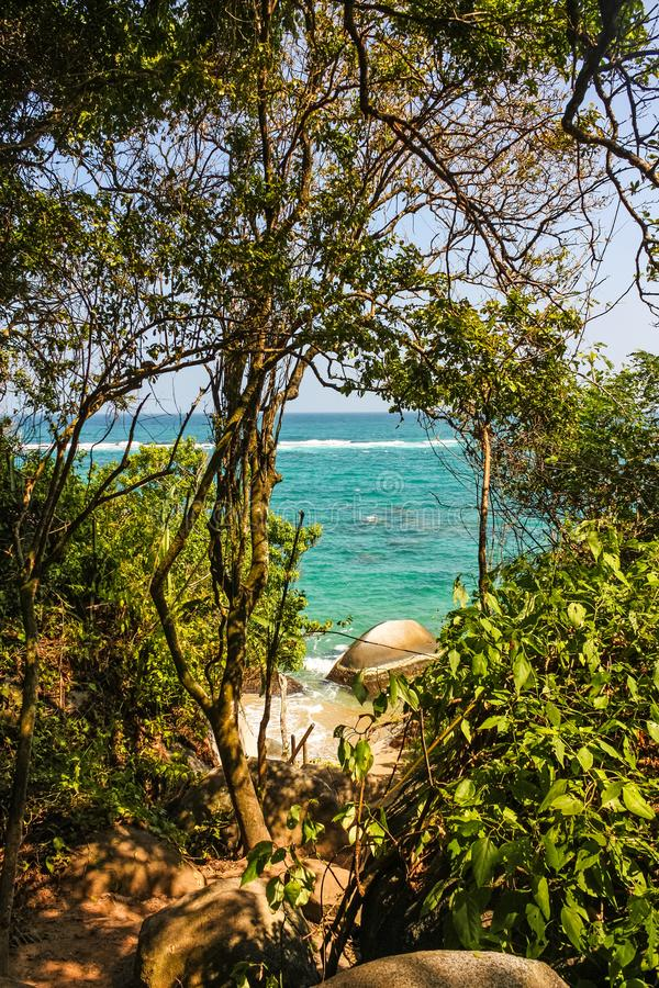 Free Caribbean Beach With Tropical Forest In Tayrona National Park, Colombia. Tayrona National Park Is Located In The Caribbean Region Stock Image - 159044171