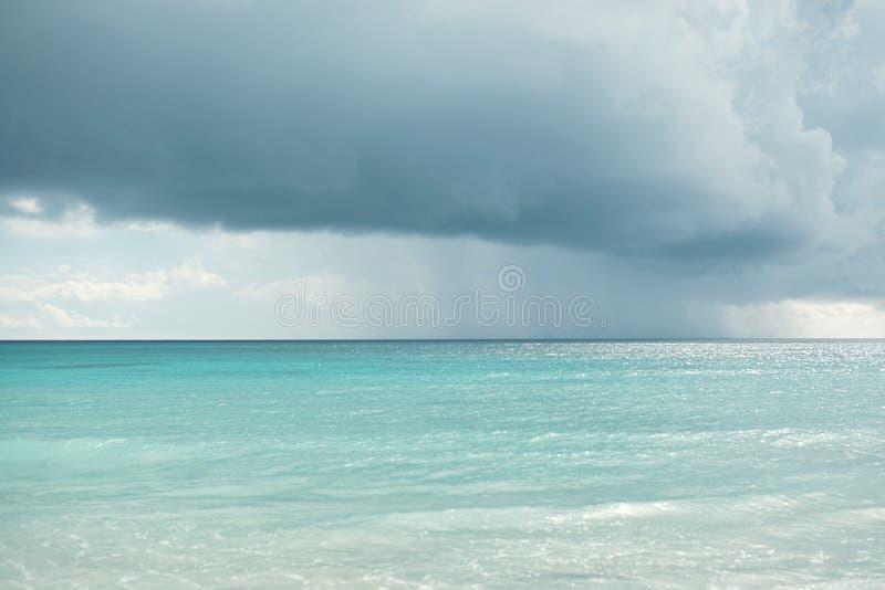 Caribbean, beaches and ocean. Caribbean Sea. dark sky rain stock images