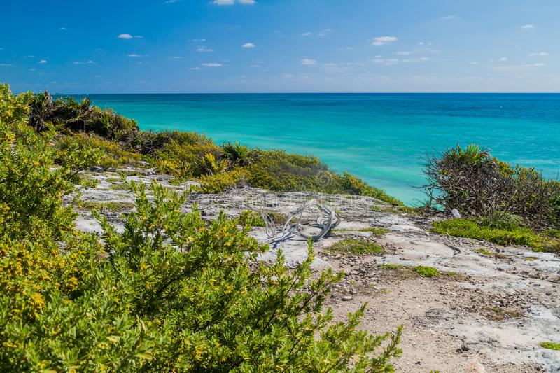 Caribbean coast at the ruins of the ancient Maya city Tulum, Mexi stock photography